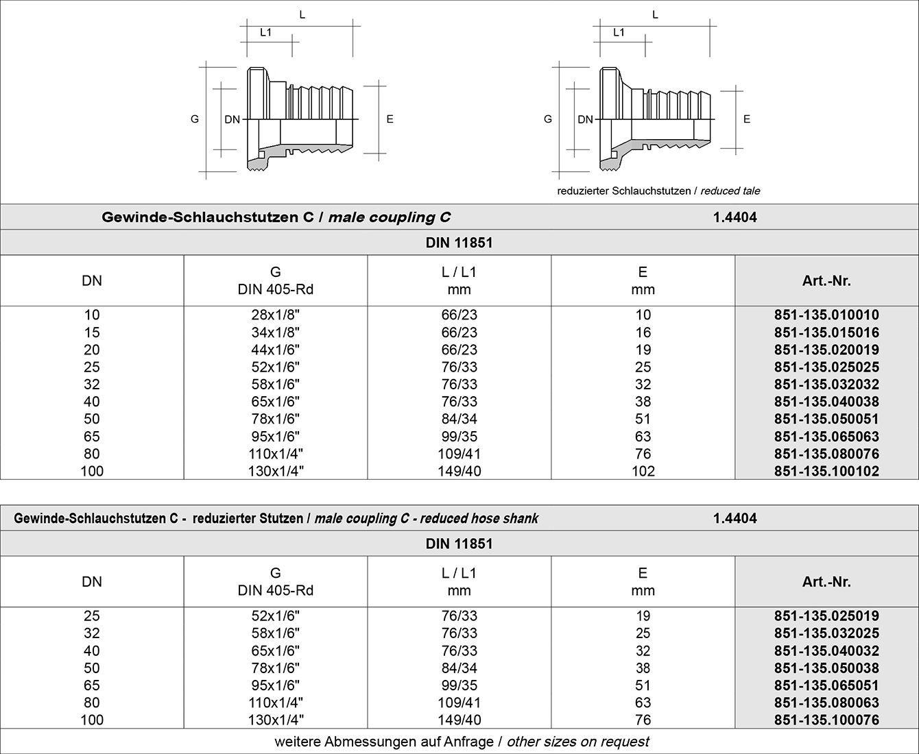 Tabelle DT Dichtungs-Technik GmbH, Dichtungstechnik, DT, Bremen, Schläuche, Armaturen, Dichtungen, Dichtringe, Profile, Milchrohr-Schlauchverschraubungen, Milchrohrverschraubung, Milchrohr, Schlauchstutzen, Gewindestutzen, Kegelstutzen, Vorschweiss-Stutzen, Anschweiss, Nutmuttern, DIN 11851, Dichtung, NBR, EPDM, FPM, MVQ, PTFE, Einband, Presshülsen, Klemmschalen, spaltfreier, Übergang